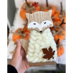 Есенна декорация дървена Лисица в бяло