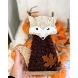 Есенна декорация дървена Лисица в кафяво