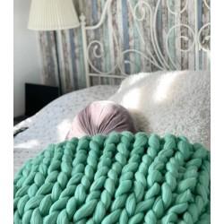 Вълнено одеяло от Фина 100% Чиста Мериносова Вълна Цвят Мента