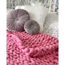 Вълнено одеяло от Фина 100% Чиста Мериносова Вълна  в розово