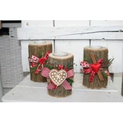 Романтичен дървен свещник