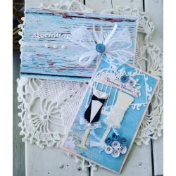 """Сватбена картичка и плик за пари """"Just Meried blue"""""""