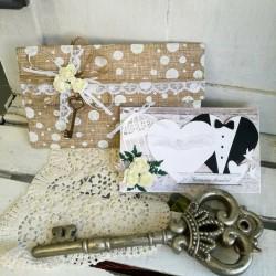 """Сватбена картичка и плик за пари """"Dots"""""""