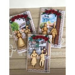 Народна картичка с дървени елементи