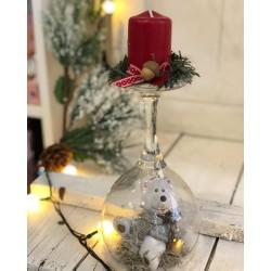 Коледен свещник бяло мече