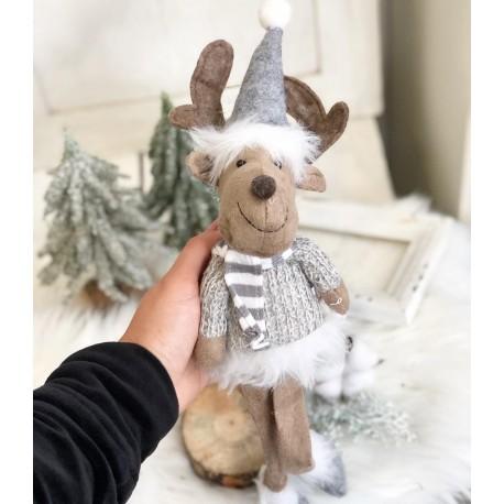 Стояща фигурка от текстил елен в сиви цветове
